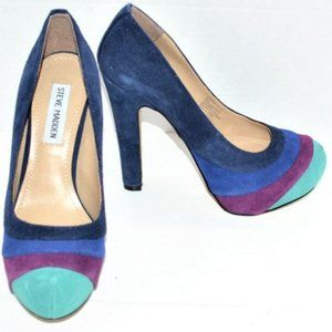 Madden Purple Blue & Teal Green Leather Heels 6.5